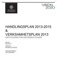 Handlingsplan 2013-2015 & verksamhetsplan 2013, Historiska studier
