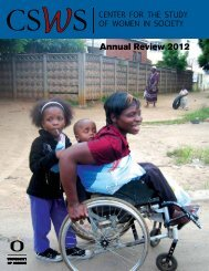 2012 CSWS Annual Review - Center for the Study of Women in ...