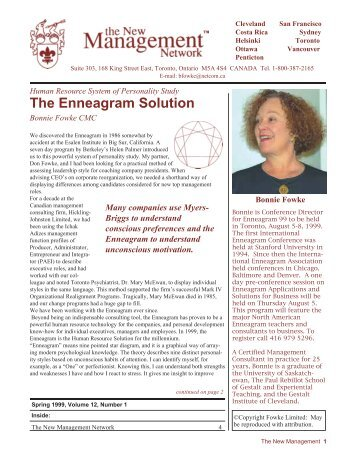The Enneagram Solution: HR System of Personality Study