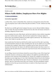 Where Faith Abides, Employees Have Few Rights - Center for the ...
