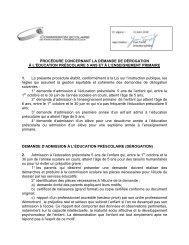 Procédure concernant la demande de dérogation à l'éducation ...