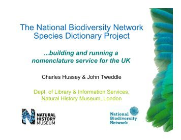 The National Biodiversity Network Species Dictionary ... - Extranet