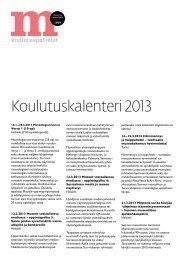 Koulutuskalenteri 2013 - Suomen museoliitto