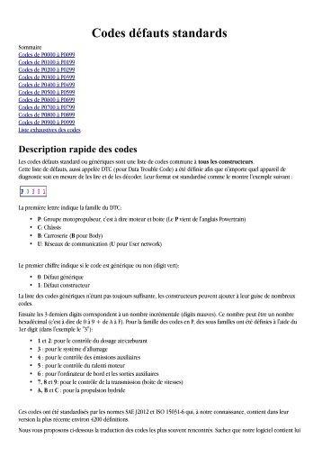 Liste des codes défauts standards