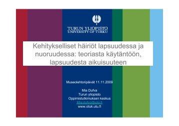 Kehitykselliset häiriöt lapsuudessa ja nuoruudessa - Suomen ...