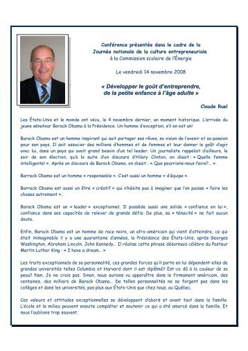Allocution de Monsieur Claude Ruel, directeur général du Réseau ...