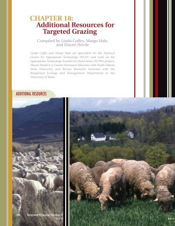 CHAPTER 18: Additional Resources For Targeted Grazing