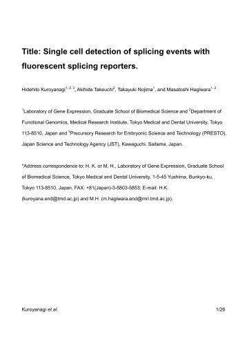 Single cell detection of splicing events with fluorescent ... - EURASNET