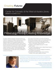 Preserving History. Creating Knowledge. - University of Colorado ...