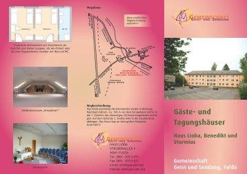 Gäste- und Tagungshäuser - Geist und Sendung