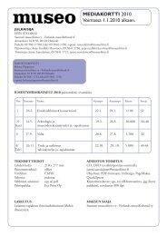 MEDIAKORTTI 2010 Voimassa 1.1.2010 alkaen. - Suomen museoliitto