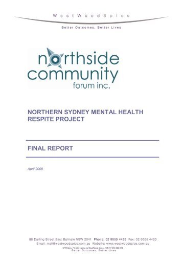 northern sydney mental health respite project final report ...
