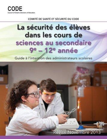 La sécurité des élèves dans les cours de sciences au ... - CODE
