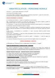 IMMATRICULATION – PERSONNE MORALE - Chambre de Métiers ...