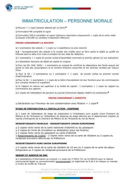 Immatriculation â Personne Morale Chambre De Mãtiers