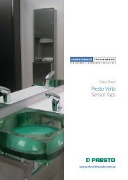 Data Sheet Presto Volta Sensor Taps - Savewater.com.au