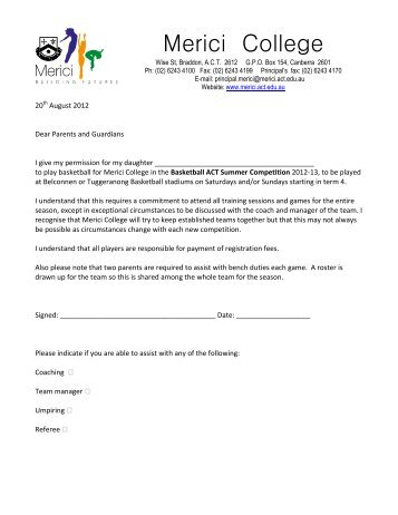 Basketball Parent Permission and Medical Form ... - Merici College