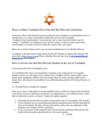 Ideas for Tzedakah at the Bar/Bat Mitzvah Celebration