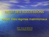 DROIT DES SUCCESSIONS rappel: Des régimes matrimoniaux
