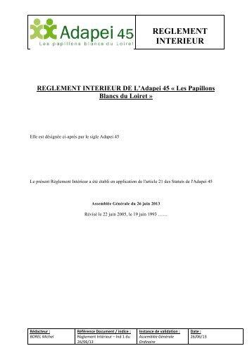 REGLEMENT INTERIEUR DE L'Adapei 45 Â« Les Papillons Blancs ...