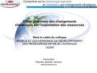 Effets potentiels des changements climatiques sur l ... - UQAM