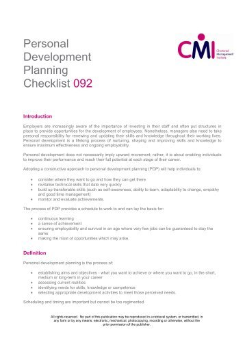 Free To Download Our Personal Development Checklist