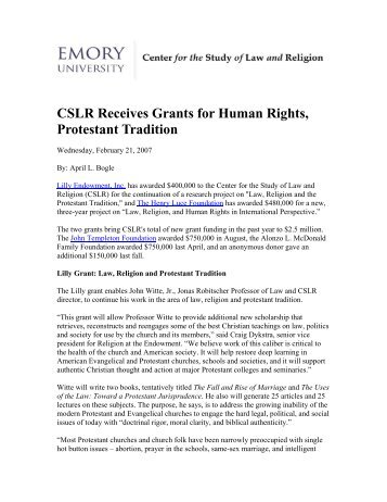 CSLR Receives Grants for Human Rights, Protestant Tradition