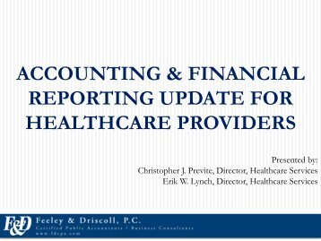 Accounting & Financial Reporting Update for Healthcare Providers