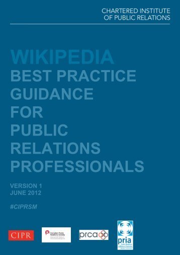 Wikipedia Best Practice Guidance - CIPR