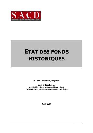Etat des fonds historiques (355 Ko) - SACD