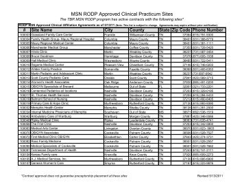 MSN RODP Approved Clinical Practicum Sites