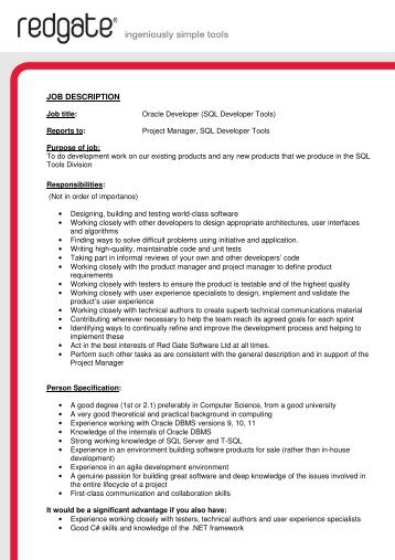 JOB DESCRIPTION - Red Gate Software