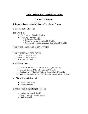 Mediation Materials in Spanish - The Oregon Mediation Association