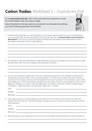 Carbon Tradies: Worksheet 5 – Charlotte the Chef - Savewater.com.au