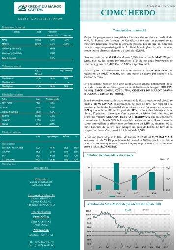 CDMC HEBDO - Bourse de Casablanca