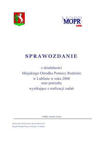 SPRAWOZDANIE - Miejski Ośrodek Pomocy Rodzinie w Lublinie