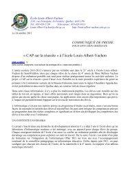 à l'école Louis-Albert-Vachon - Commission scolaire de la Beauce ...