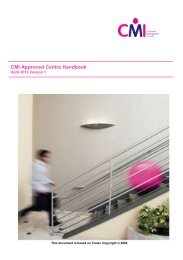 CMI Approved Centre Handbook - Chartered Management Institute