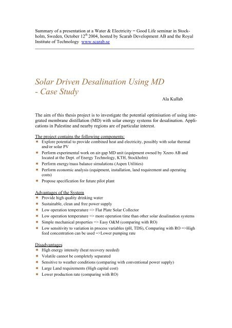 Solar Driven Desalination Using MD- Case Study