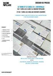 dossier de presse Le tamis et Le sabLe 2/3 : L ... - Maison Populaire