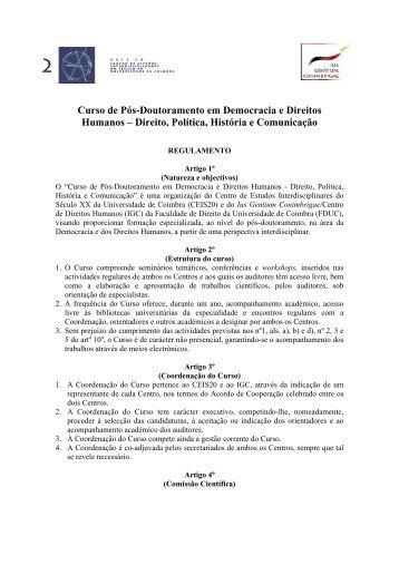 Curso de Pós-Doutoramento em Democracia e Direitos Humanos ...