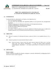 Directive administrative concernant la gestion du dossier scolaire de ...