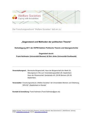 Gegenstand und Methoden der politischen Theorie - Welfare Societies