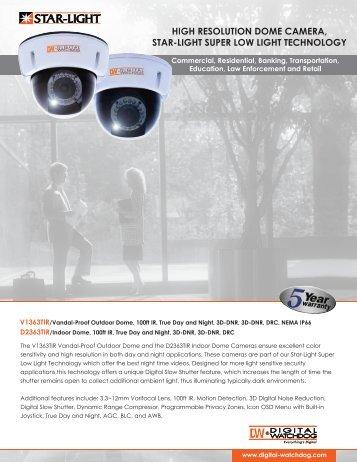 high resolution dome camera, star-light super low light technology