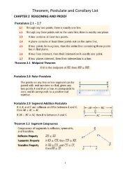 Theorem, Postulate and Corollary List