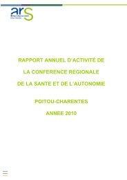 rapport CRSA 2010 - ARS Poitou-Charentes