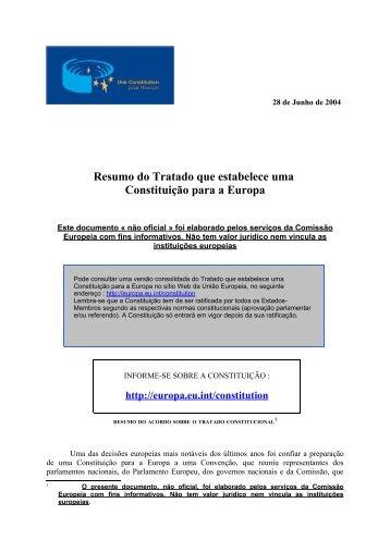 Resumo do Tratado que estabelece uma Constituição para a Europa