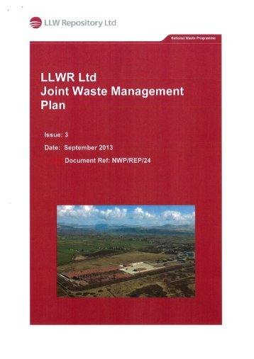 LLWR Joint Waste Management Plan – Sept 2013 - Low Level ...