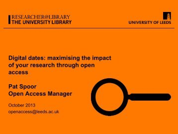 Maximising the impact of your research through open access