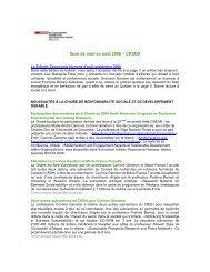 Septembre 2008 - Chaire de responsabilité sociale et de ...